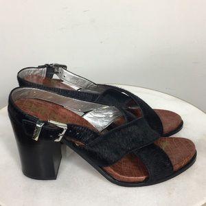 Sam Edelman Fur Mohair Strappy Block Heel Women 12